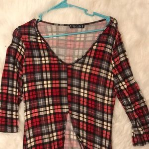 Tops - Red Plaid High Low Top